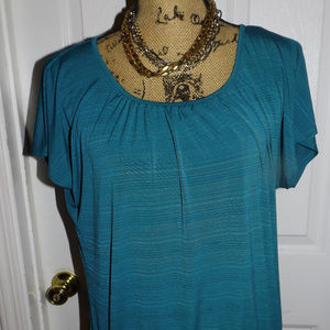 Turquoise Stretch Material Round NeckTop